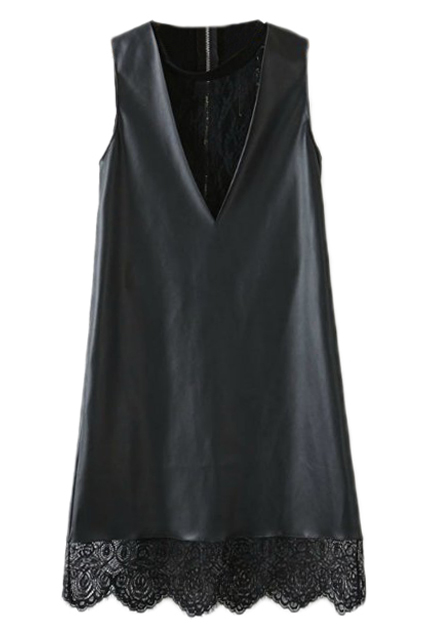 ROMWE | ROMWE Panel Faux Leather Lace Crochet Black Vest Dress, The Latest Street Fashion