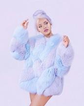 coat,rihanna,fluffy,bubblegum,pastel,fur coat,blue