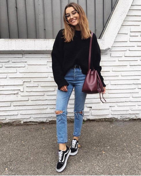 Black Sweater with Jeans
