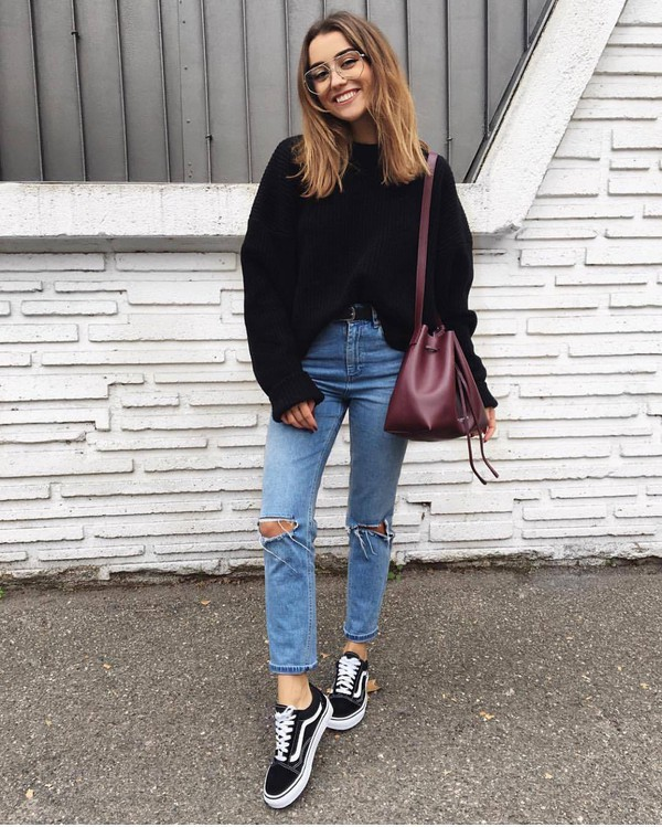 Sweater, Tumblr, Black Sweater, Oversized Sweater