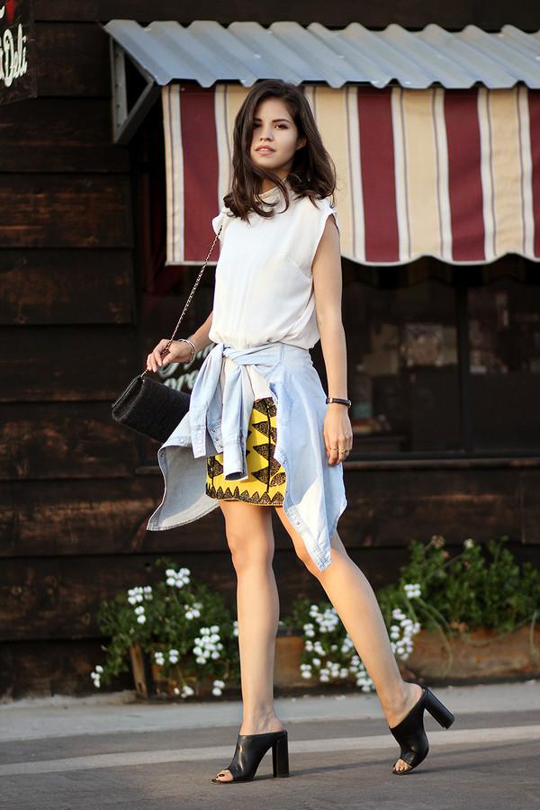 fake leather blouse skirt bag jewels dress shirt