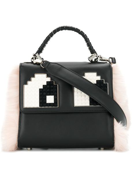 fur women bag leather black