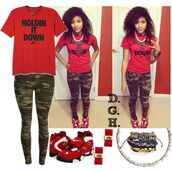 t-shirt,holdin it down,red and black,nike,just do it,outfit,shoes,jewels,jeans,pants