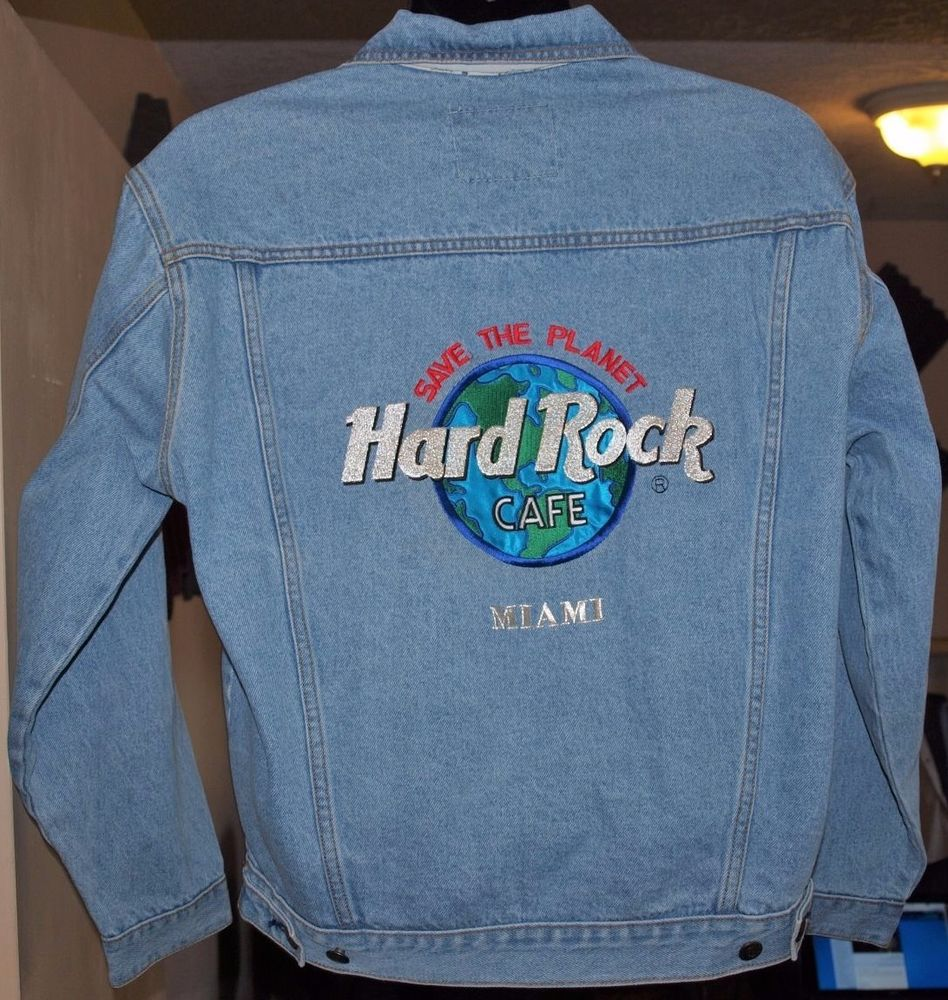 NWT HARD ROCK CAFE Miami Save The Planet Embroidered Denim ...