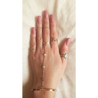 nail polish pink ballerina nails beautiful love ring gold bracelets barrym pastel spring summer 15 bracelet chains