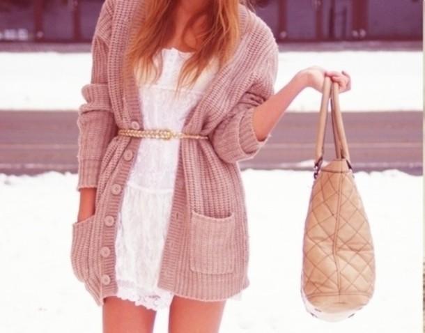 jacket cardigan belt dress bag love more sweater coat pink lace dress cute oversized sweater knitted cardigan oversized cardigan white dress white brown style