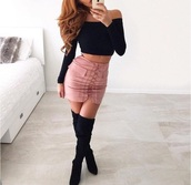 skirt,pink skirt,nude,pink,ribbon,tie strings,pencil skirt,skirt with pockets,lovely,cute