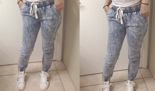 jeans sweatpants grey cute jeans joggers pizza print