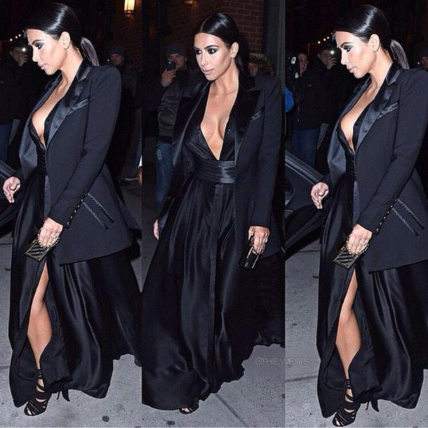 kim kardashian black dress blazer