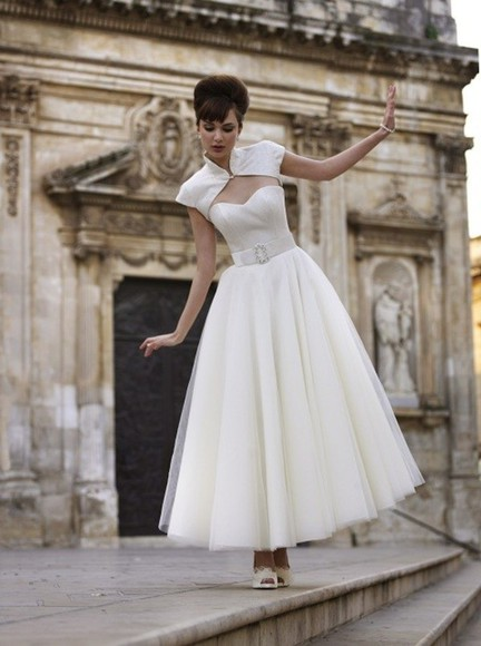 dress beauty wedding dress bridal gown white dress 1950s decoration sweet chanel goddess
