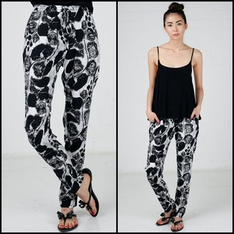 pants black and white prints casual spring summer bold angl joggers pants printed pants elastic waist