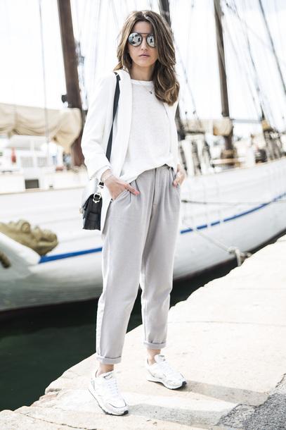 shoes, sunglasses, white shirt, white