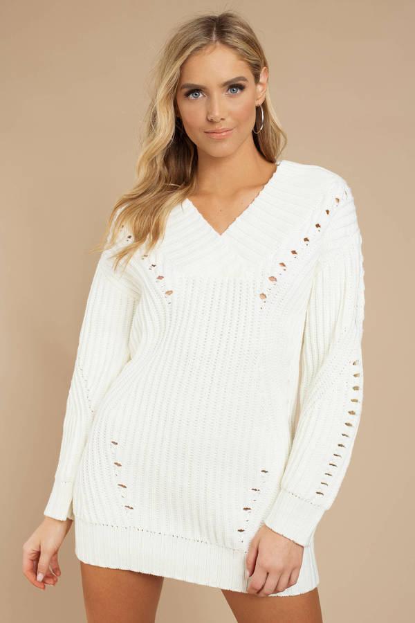 Alise Ivory Chunky Knit Sweater Dress