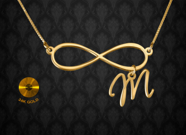 names gold necklace bling pin infinity to and with name