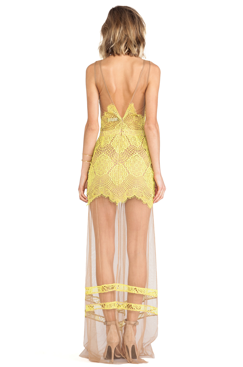 For Love & Lemons Antigua Maxi Dress in Chartreuse | REVOLVE