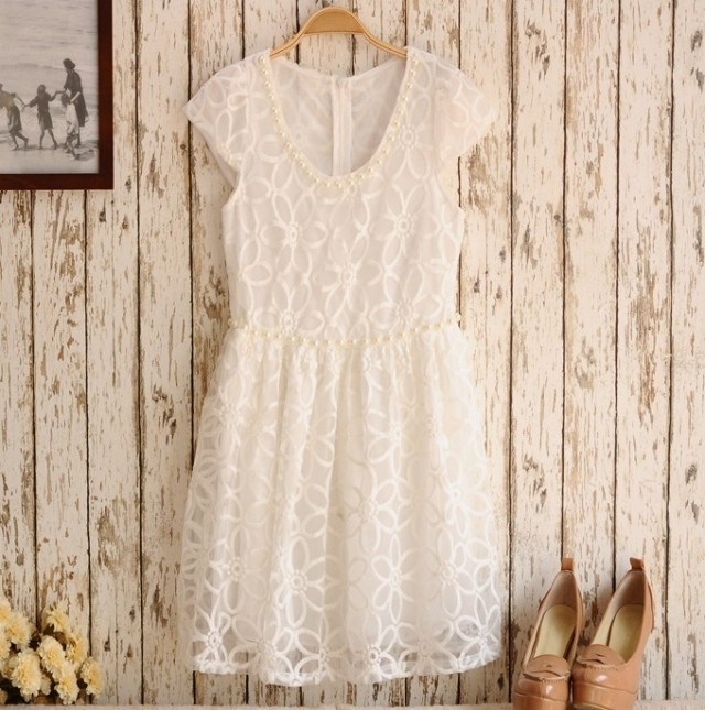 Cute Lace Floral Dress  on Luulla