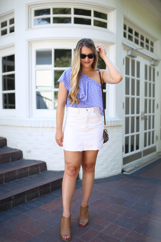 skirt mini skirt denim skirt one shoulder top gingham top ruffled top blogger blogger style crossbody bag suede open toe booties
