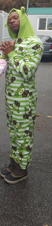jumpsuit,green and white striped yoda
