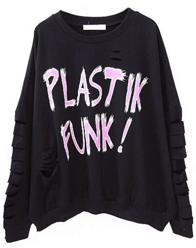 Black Batwing Long Sleeve Letters Ripped Sweatshirt