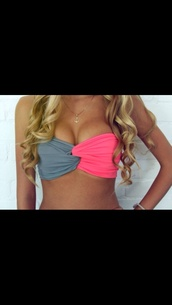 swimwear,pink gray,spandex bandeau,bikini,pink,grey,twisted,blue and pink swimwear,pink and gray bandeau,top