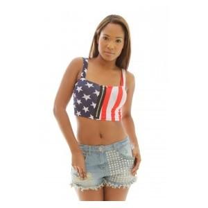 8b83f6e97de265 Bustier american flag crop top - Polyvore