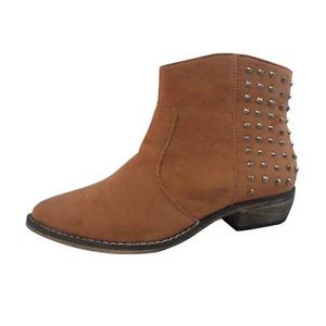 Women's Bucco Studded Ankle Boot Sz 9 Cognac Faux Suede Vegan New | eBay