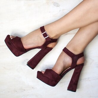 shoes burgundy lotd sotd heels chunky heel chunky sole gojane