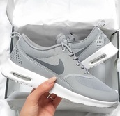 shoes,nike,nike running shoes,nike shoes,nikes,instagram,new shoes,hipster,freshness,love,white,grey,running shoes,cute,gray shoes,air max,grey sneakers,low top sneakers,nike sneakers,nike air max thea,charcoal,leather,suede,trainers