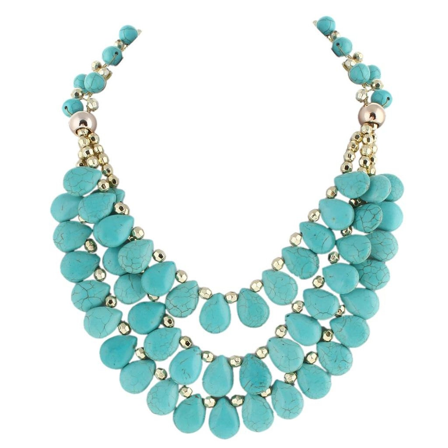 Amazon.com: 3 Layer Teardrop Turquoise Color Chunky Statement Bubble Necklace Gold-Tone N03759-1: Jewelry