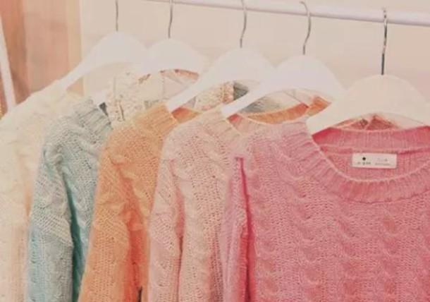 sweater pastel pink orange blue white