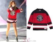 sweater,red,black and white,selena gomez,shirt,jersey,toronto raptors