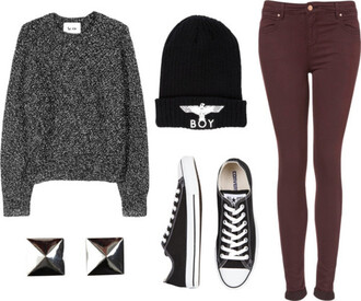 tumblr jumper sweater boy london black and white studs converse burgundy jeans winter outfits fall sweater cardigan hat
