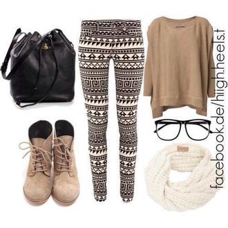 top bag glasses shoes pants