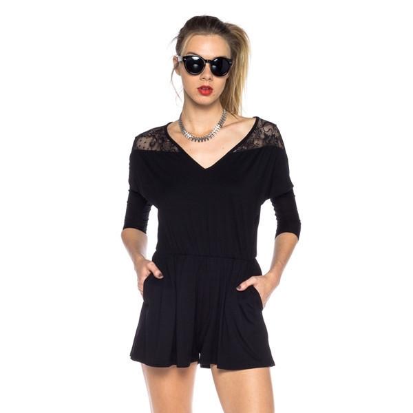 dress romper black noir mini lace temptation fashion makeup table vanity row dress to kill rock vogue