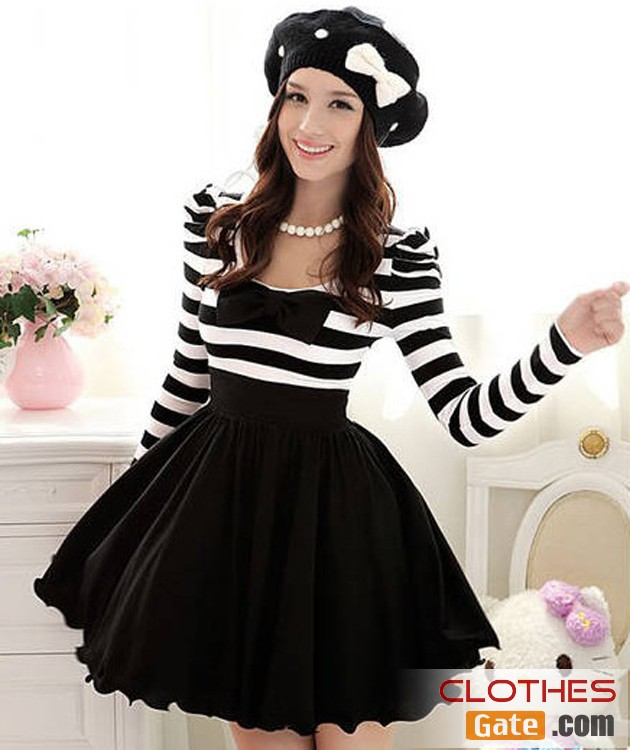Korean women long black and white striped bow puff sleeve dress