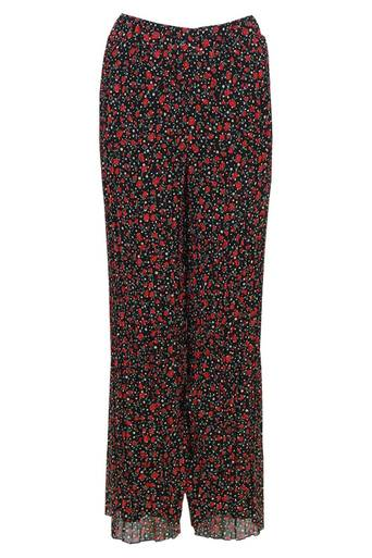 Ebony Chiffon Printed Wide Trouser Pant in Black Print - Pop Couture