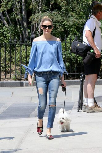 blouse jeans olivia palermo streetstyle blogger off the shoulder flats long sleeves blue top ripped jeans sunglasses all blue outfit