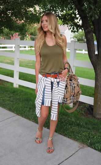 birdalamode blogger shorts belt sweater bag shoes tank top sandals denim shorts summer outfits