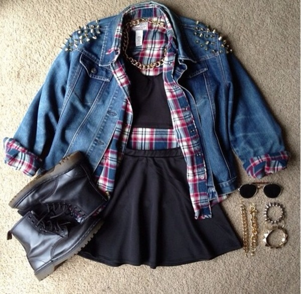 shirt shoes skirt jewels sunglasses jacket