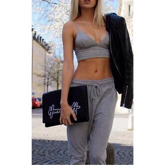 tank top sweatpants tankini grey classy sportswear