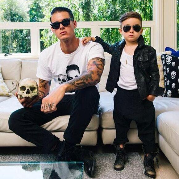 skull jacket menswear guys fashion kids fashion Fashion kids leather jacket daddy & me Daddy and son Daddy and son fashion sunglasses combat boots