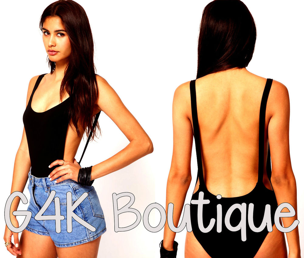 Womens ASOS Backless Black Cut Out Bodysuit Leotard Ladies Party Bralet Body Top | eBay