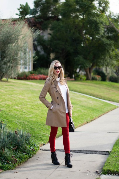 fashion addict blogger coat beige red skinny pants sweater pants shoes bag