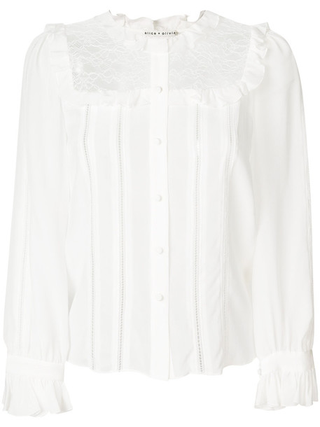 shirt women lace white cotton silk top