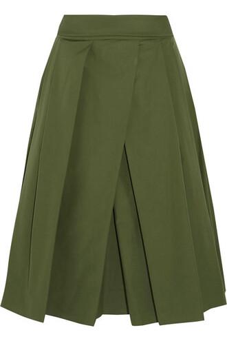 skirt midi skirt pleated midi cotton green army green