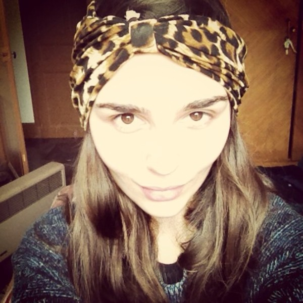 hat stamp print leopard print black turban