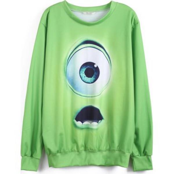 sweatshirt green pixar eyeball mike wazowski monster