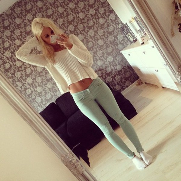 skinny jeans green jeans green pants light green blonde hair blonde hair pants sweater