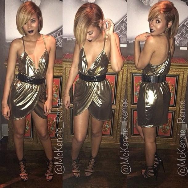 dress metallic gold deep vneck v neck dress