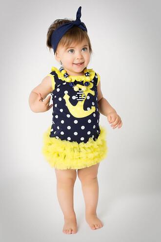 dress kids fashion girl childrens dress anchor polka dots